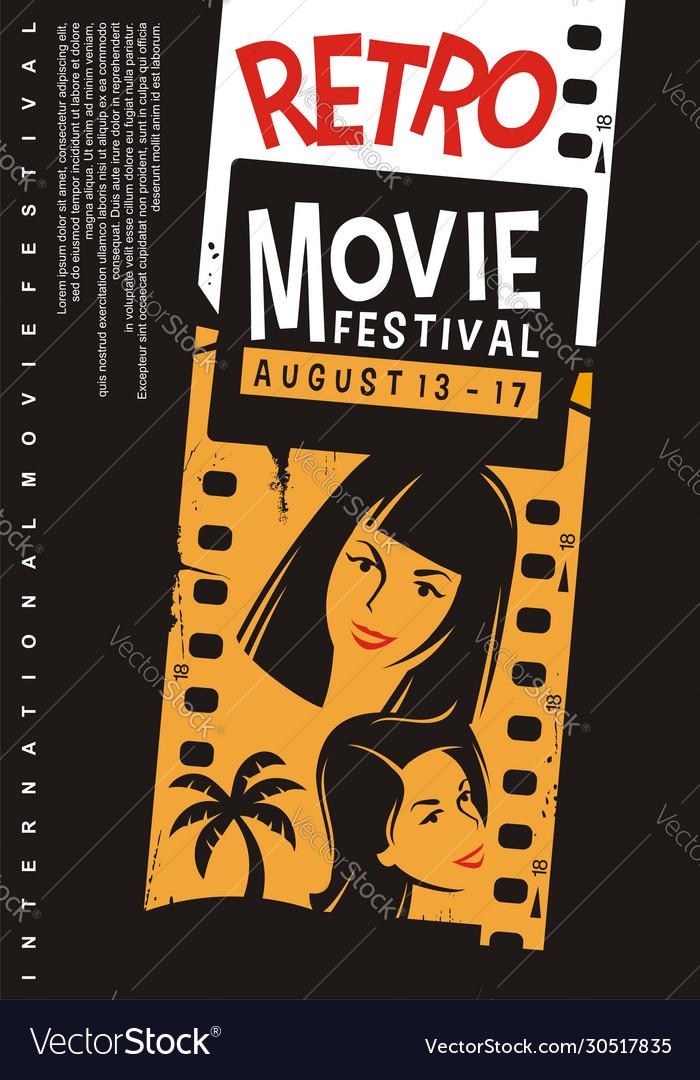 Retro movies festival promotional poster design