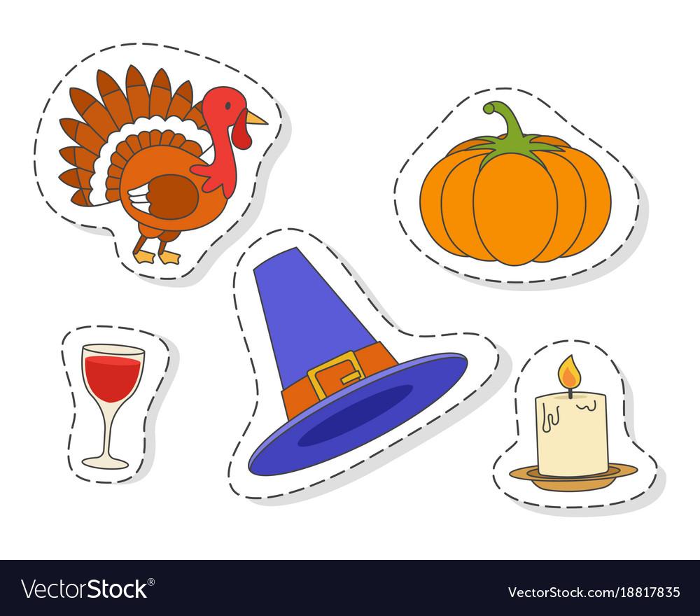 Thanksgiving day symbols stickers flat set