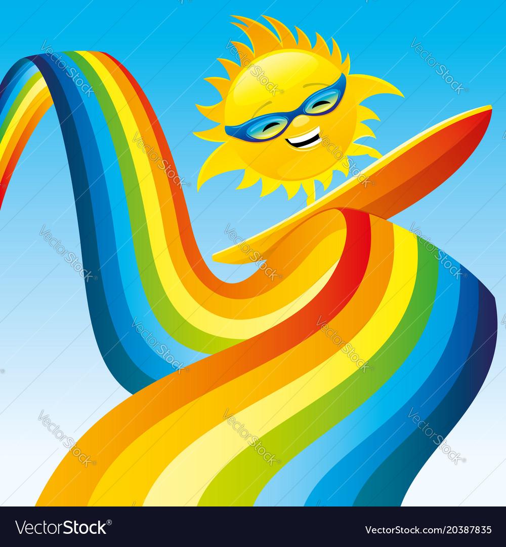The sun on a surfboard