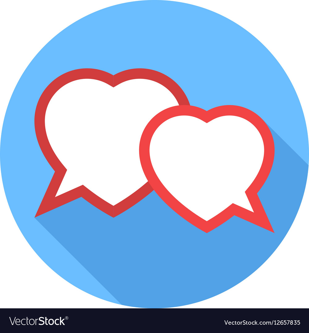 Two hearts speech bubble Flat Design icon vector image