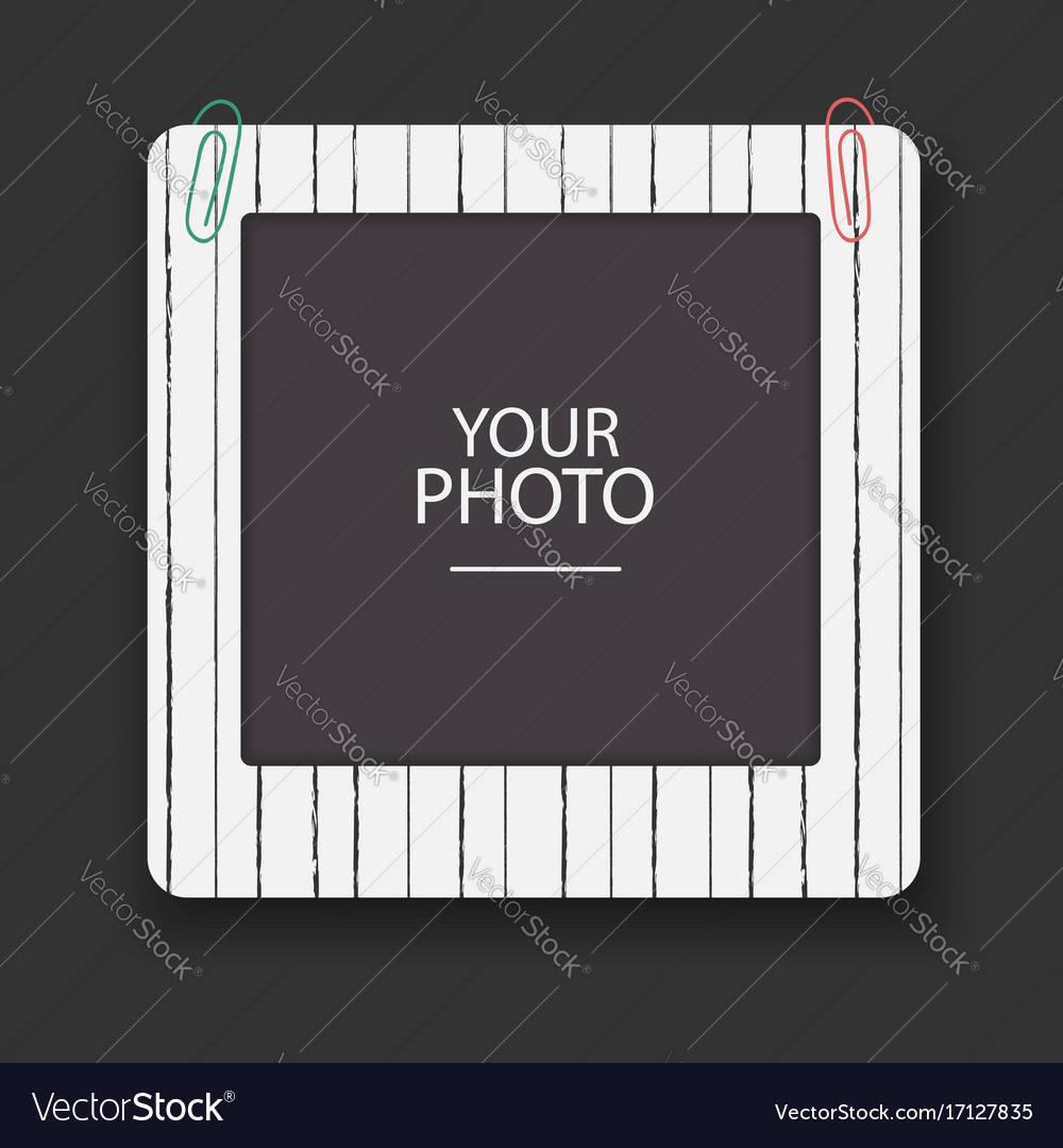 Vintage photo frame with clips scrapbook retro vector image