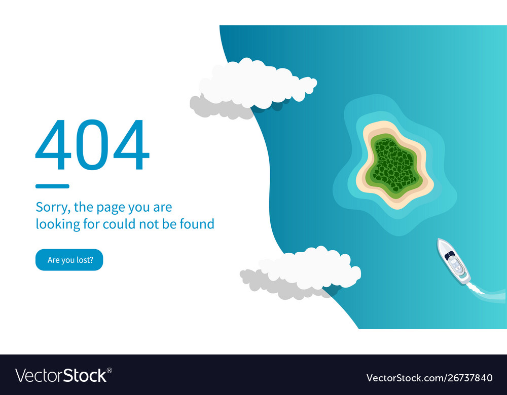 404 error web pages design with island and ocean