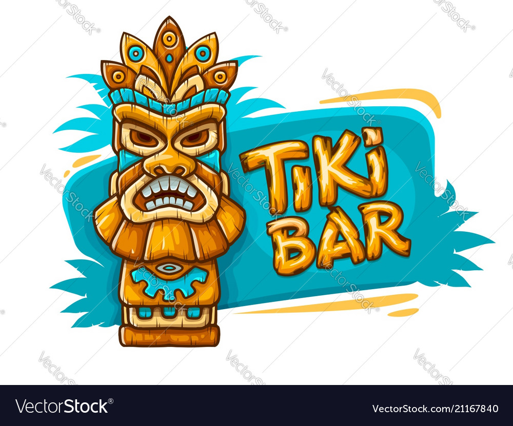 Banner with tiki ethnic