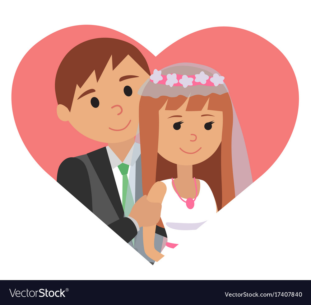 Bride and groom icon in vector image