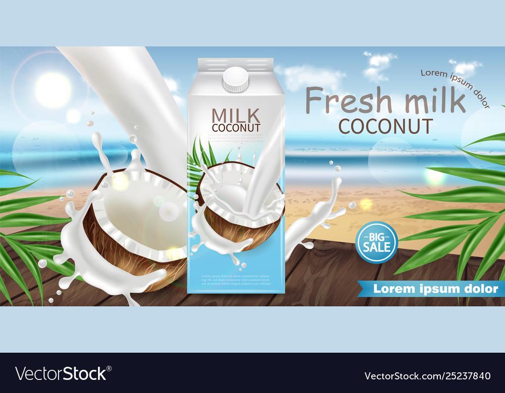 Coconut milk realistic mock up milk splash