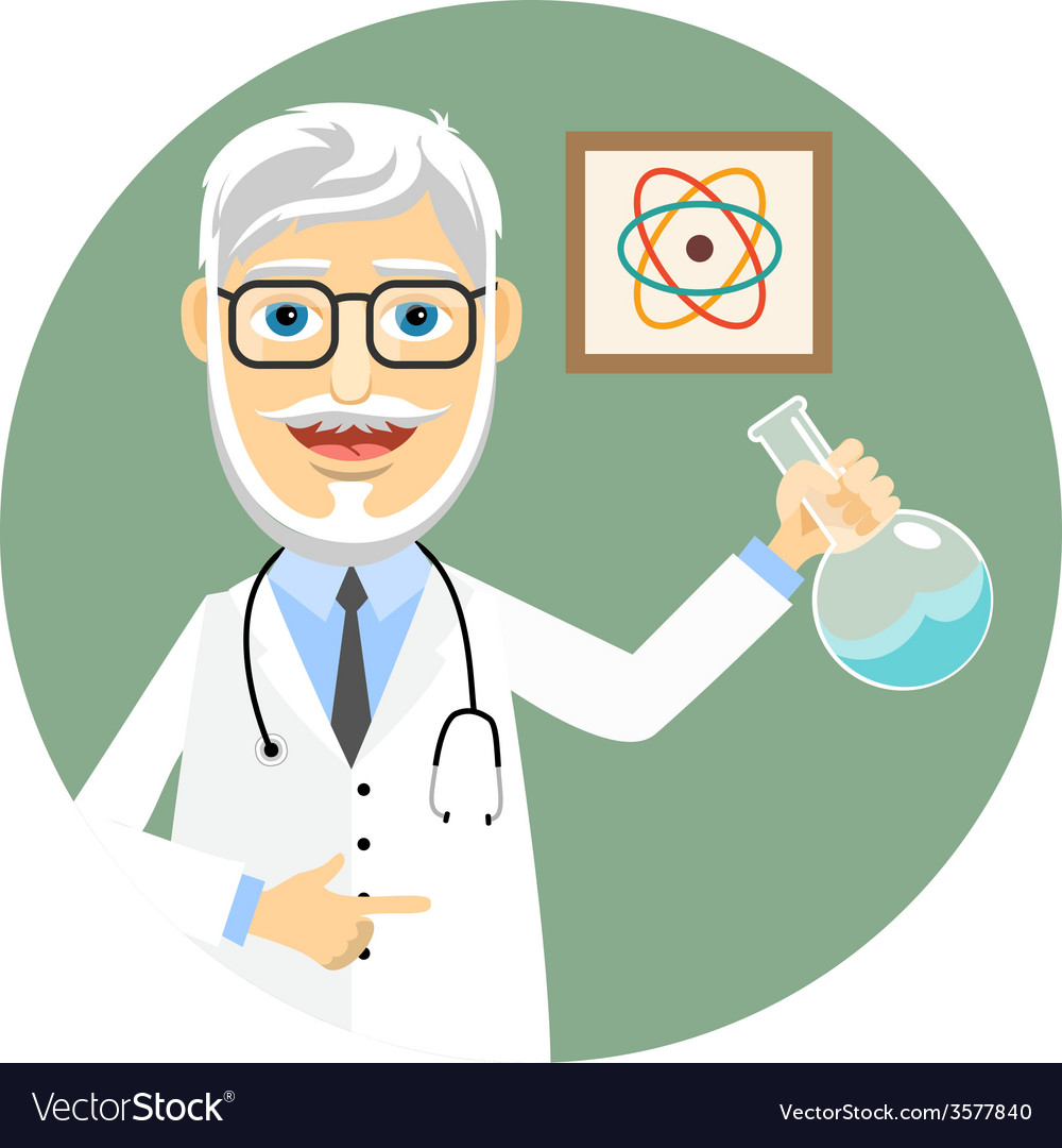 Elderly doctor doing chemical experiments