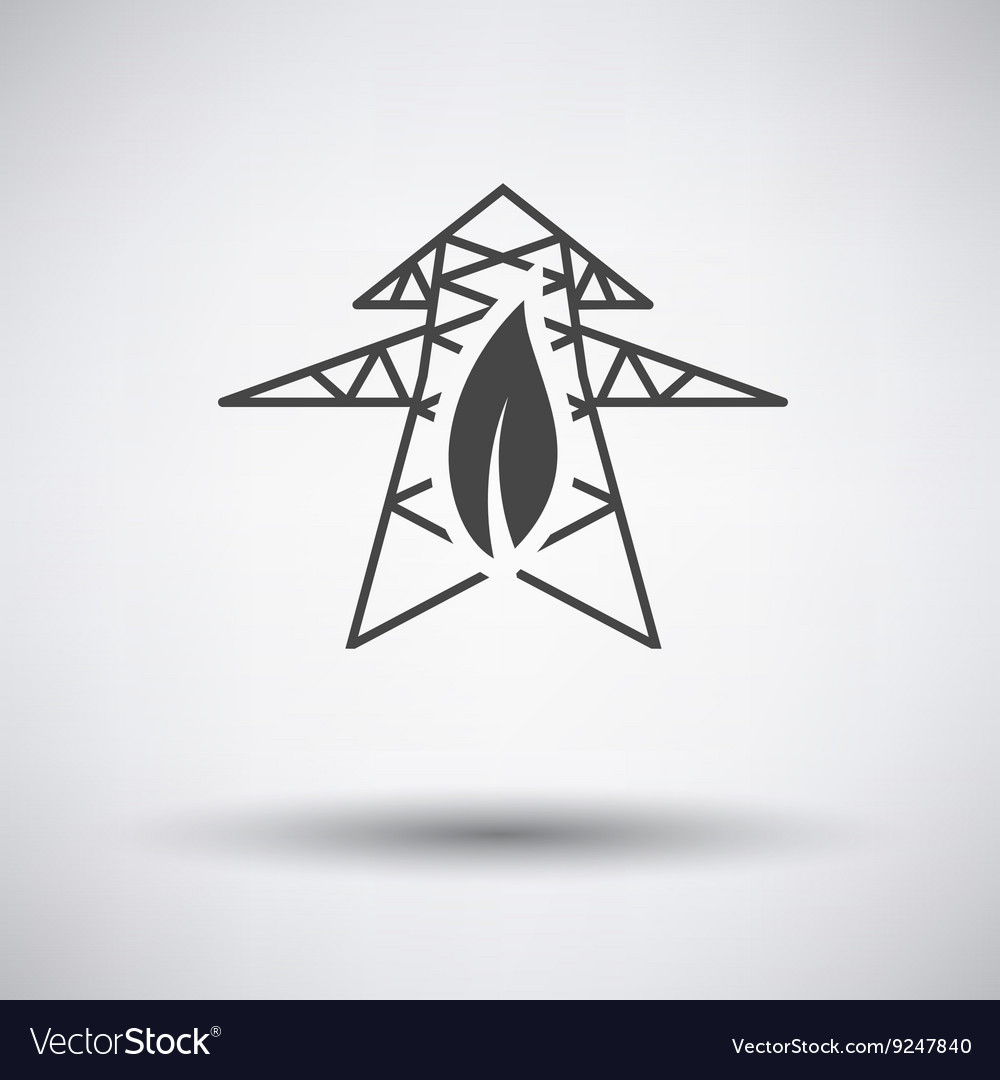 Electric tower with leaf icon vector image