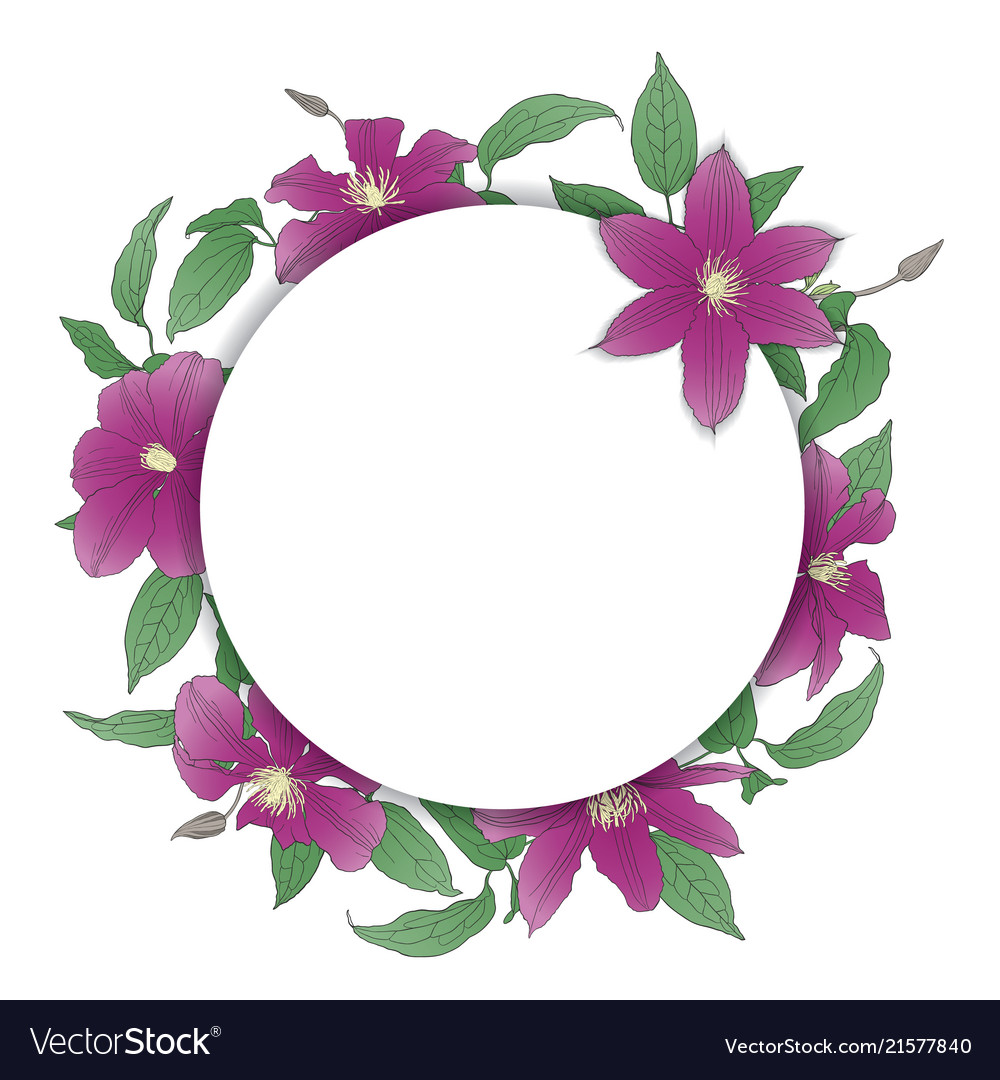 Floral wreath with clematis flowers