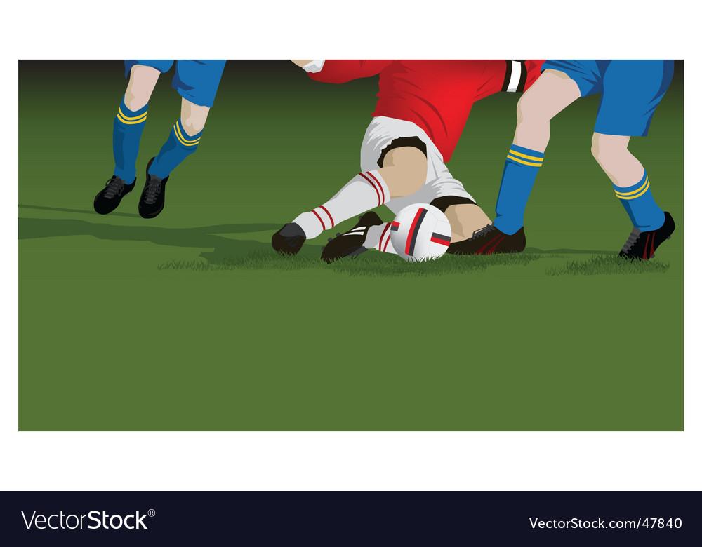 Football soccer tackle close up