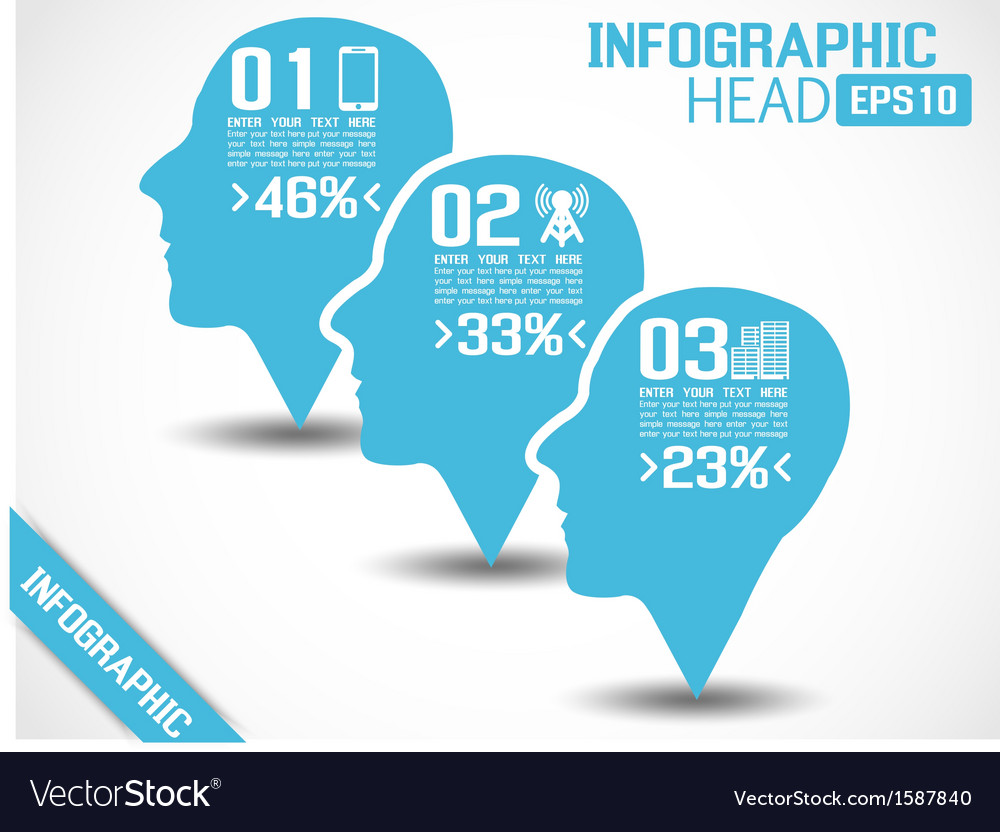 INFOGRAPHIC HEAD BLUE vector image