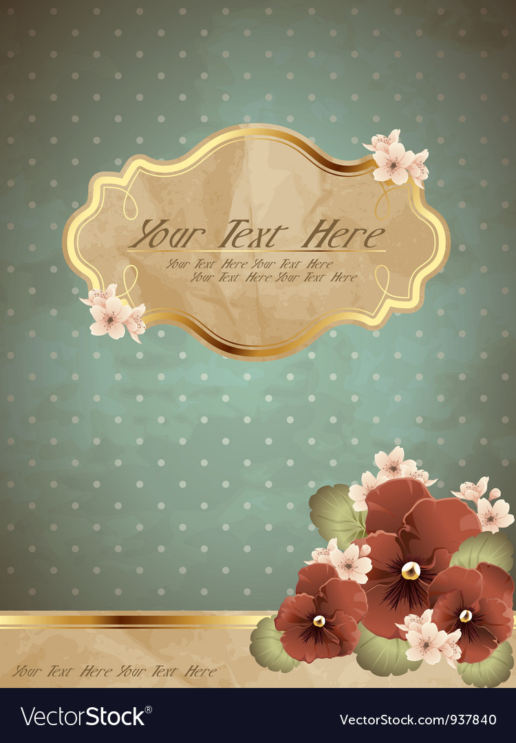 Romantic blue vintage banner with flowers