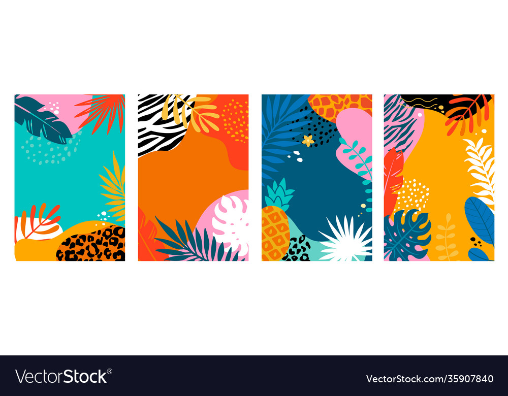 Set summer cards with tropical leavesanimal print