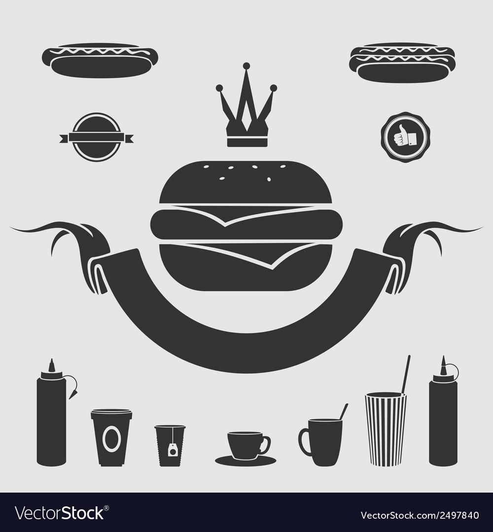 Symbol fast food set vector image