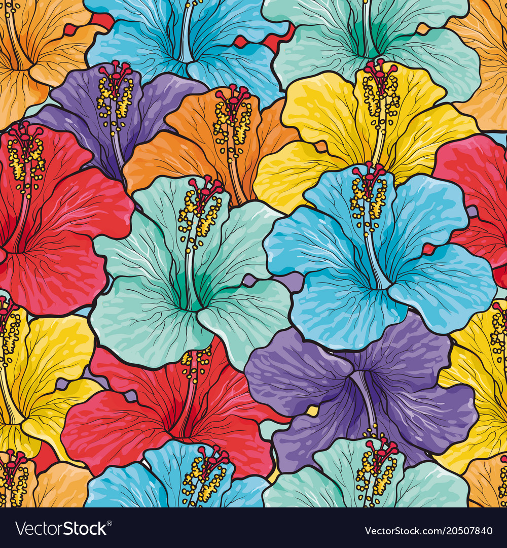 Tropical flowers seamless pattern with sketch