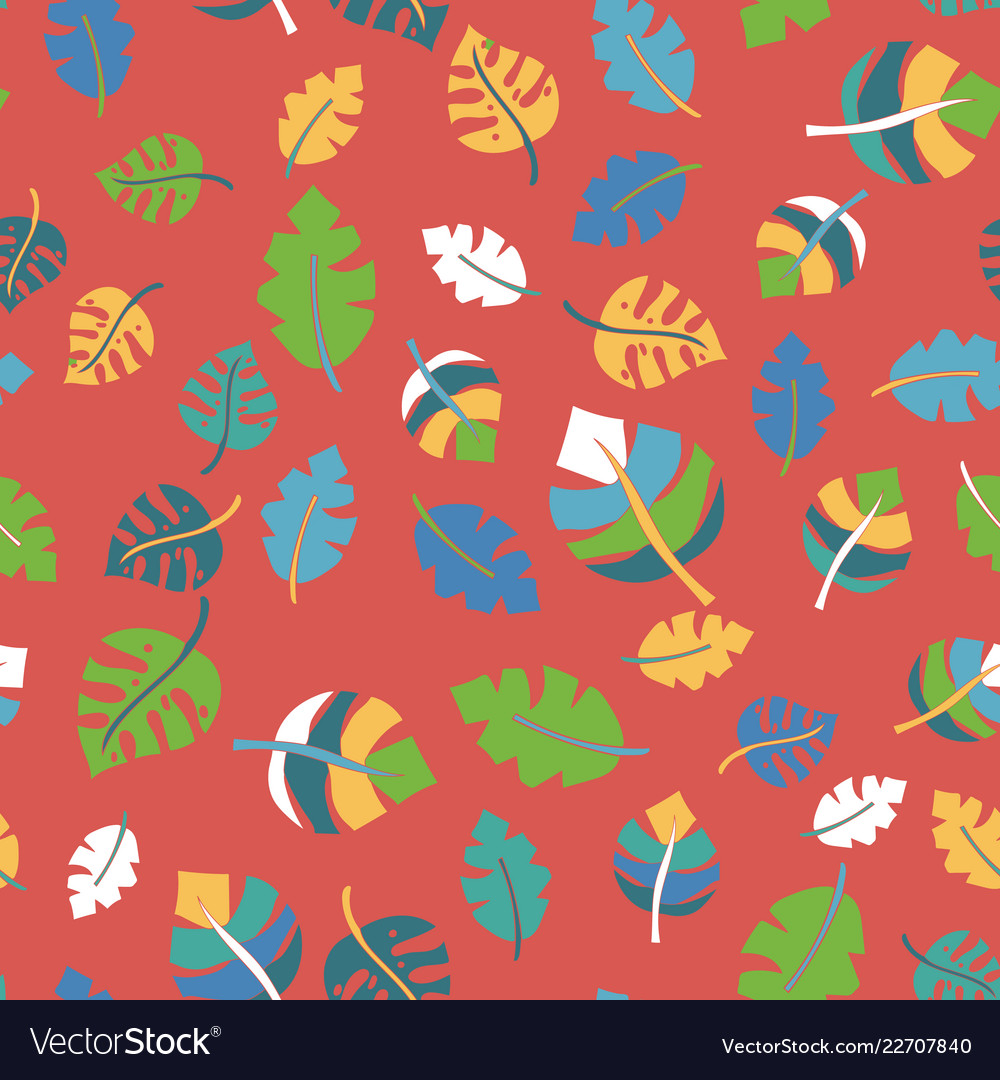 Tropical leaves hand drawn seamless pattern black