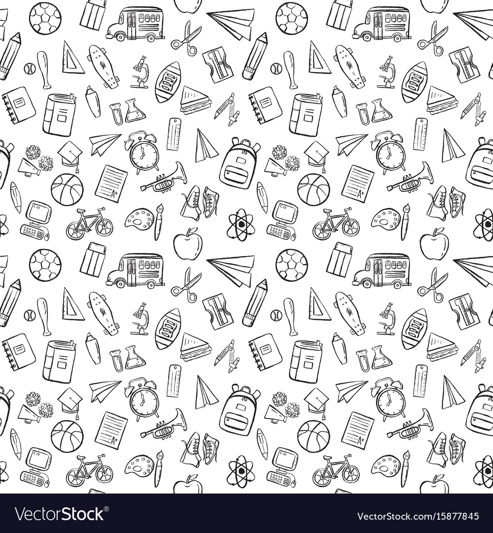 Back to school seamless pattern background set vector image