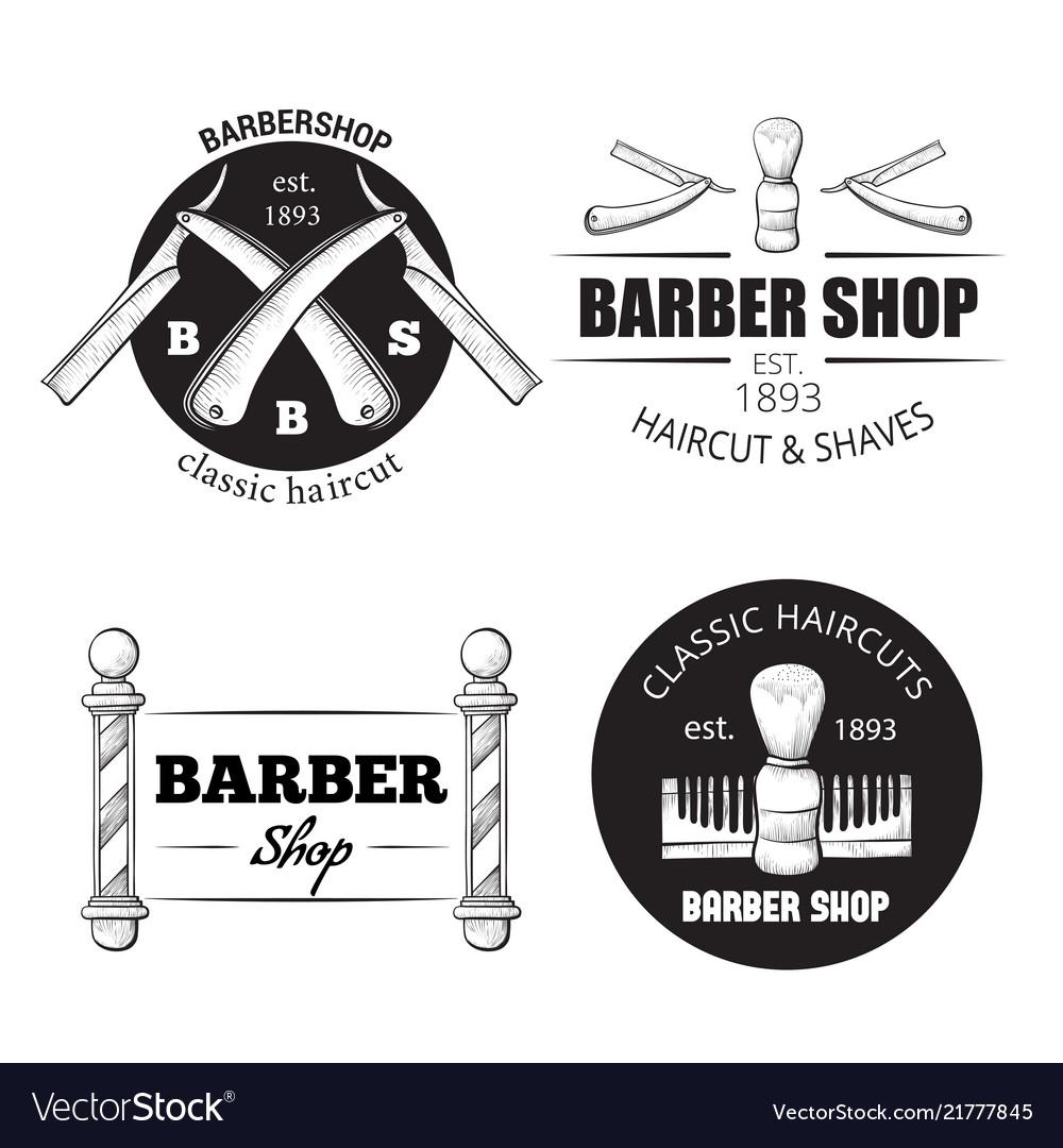Barbershop logo set on white
