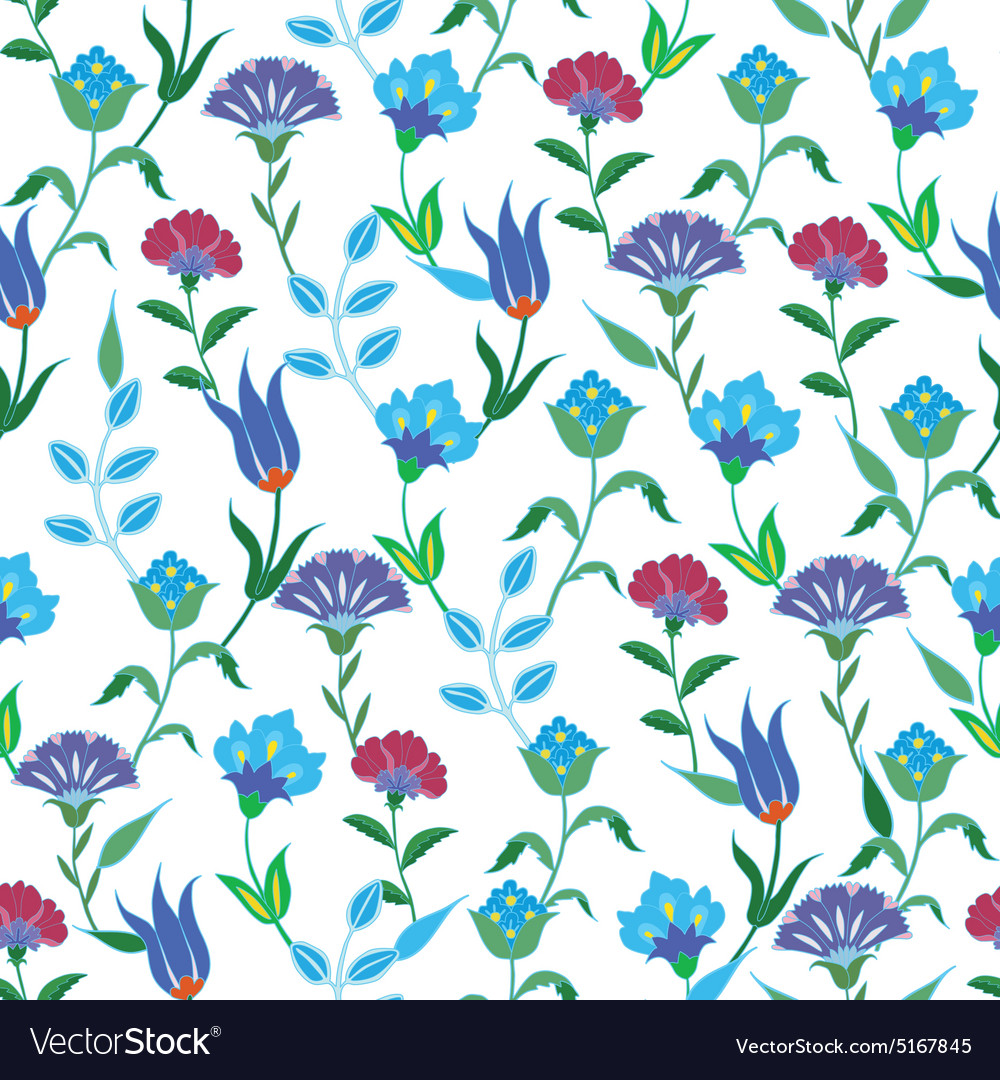 Colorful Spring Turkish Flowers Seamless