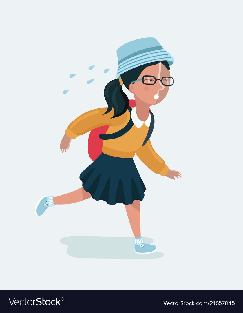 Cute girl in uniform going to school