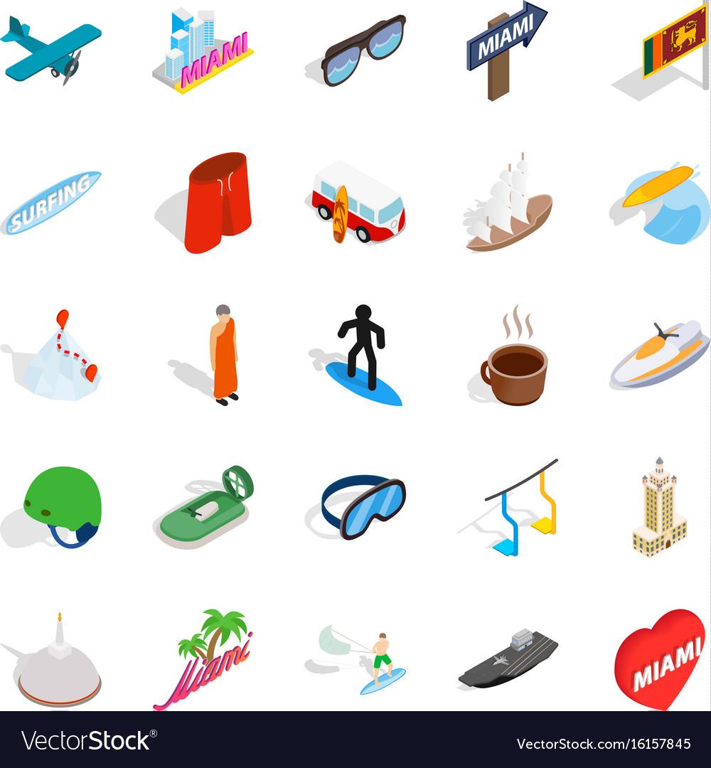 Escapade icons set isometric style