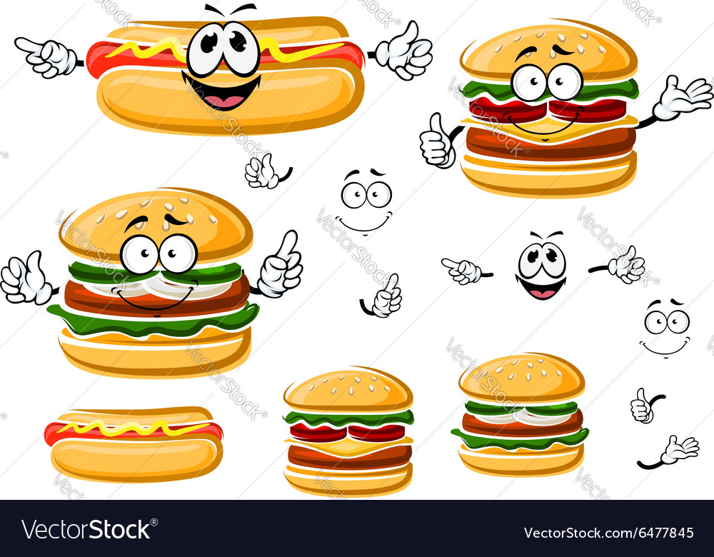 Happy hamburger hot dog and cheeseburger