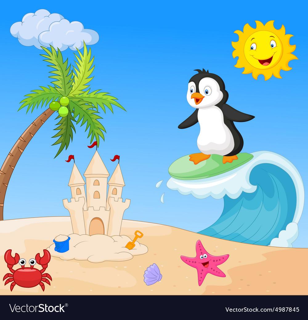 Happy penguin cartoon surfing