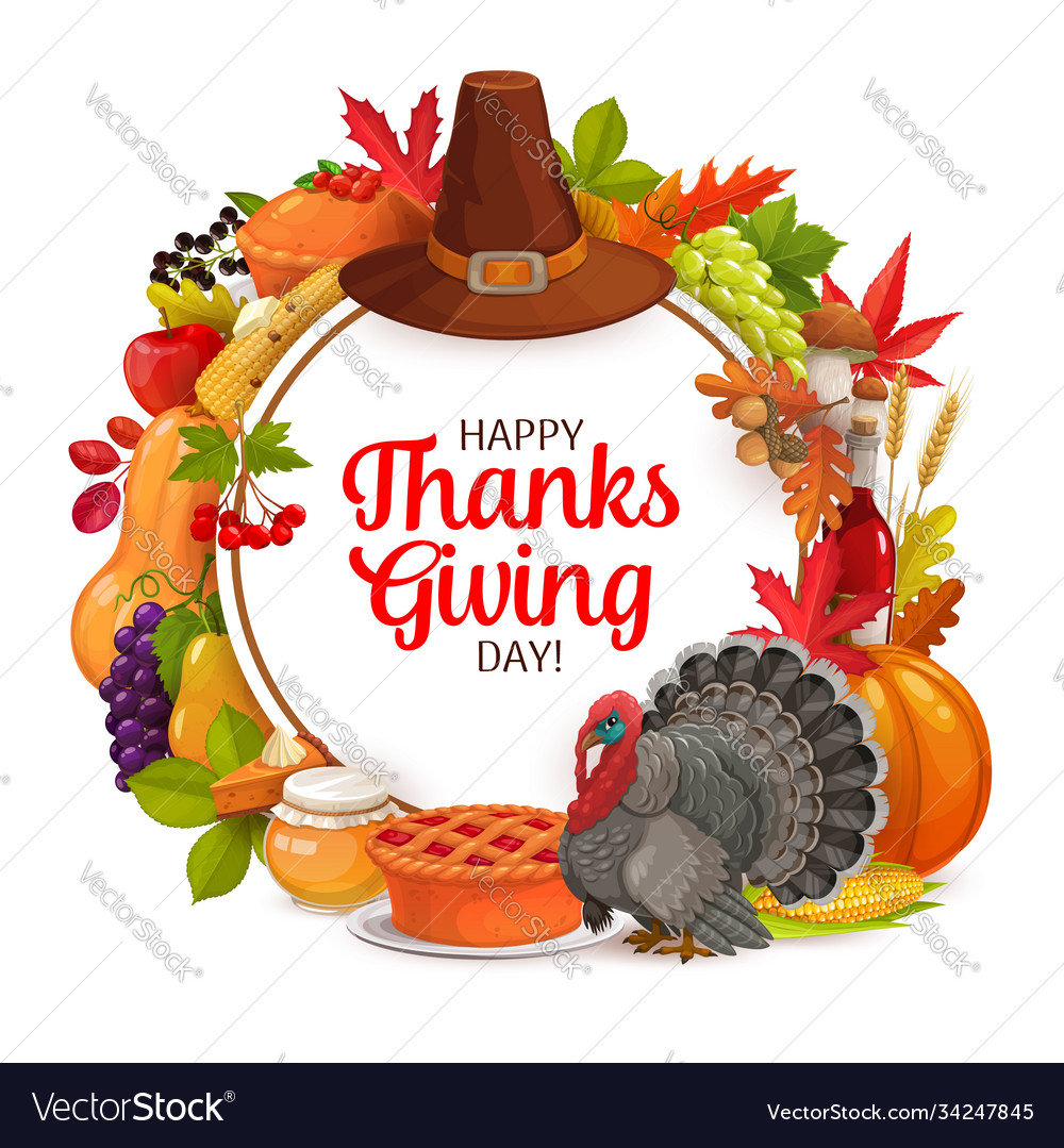 Happy thanks giving day cartoon round frame