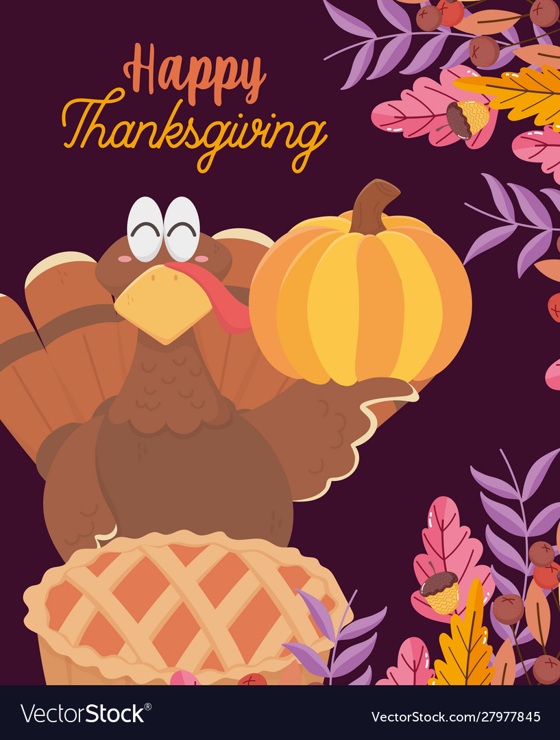 Happy thanksgiving day turkey with pumpkin and