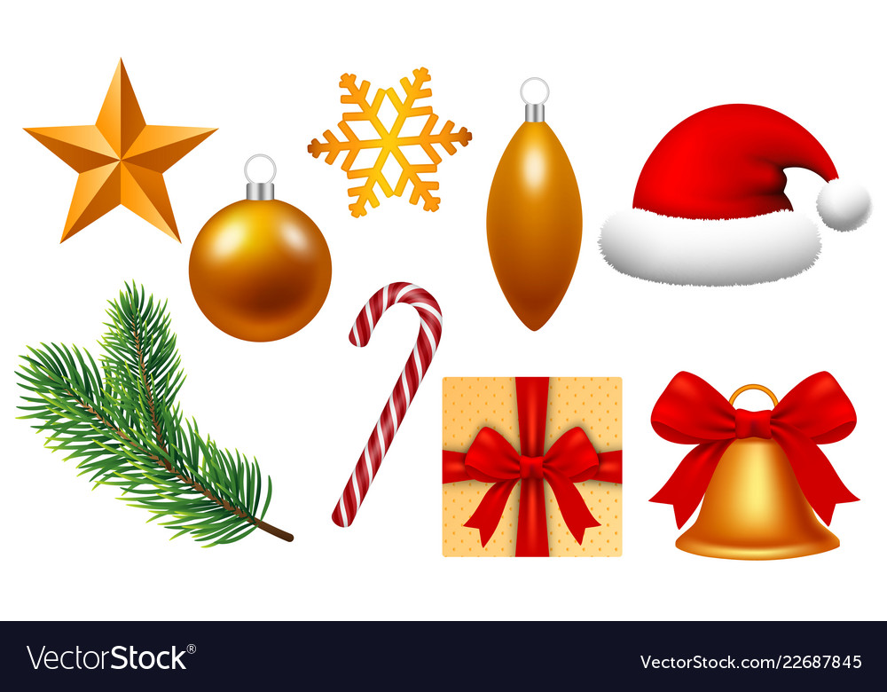 Happy xmas icon set realistic style Royalty Free Vector