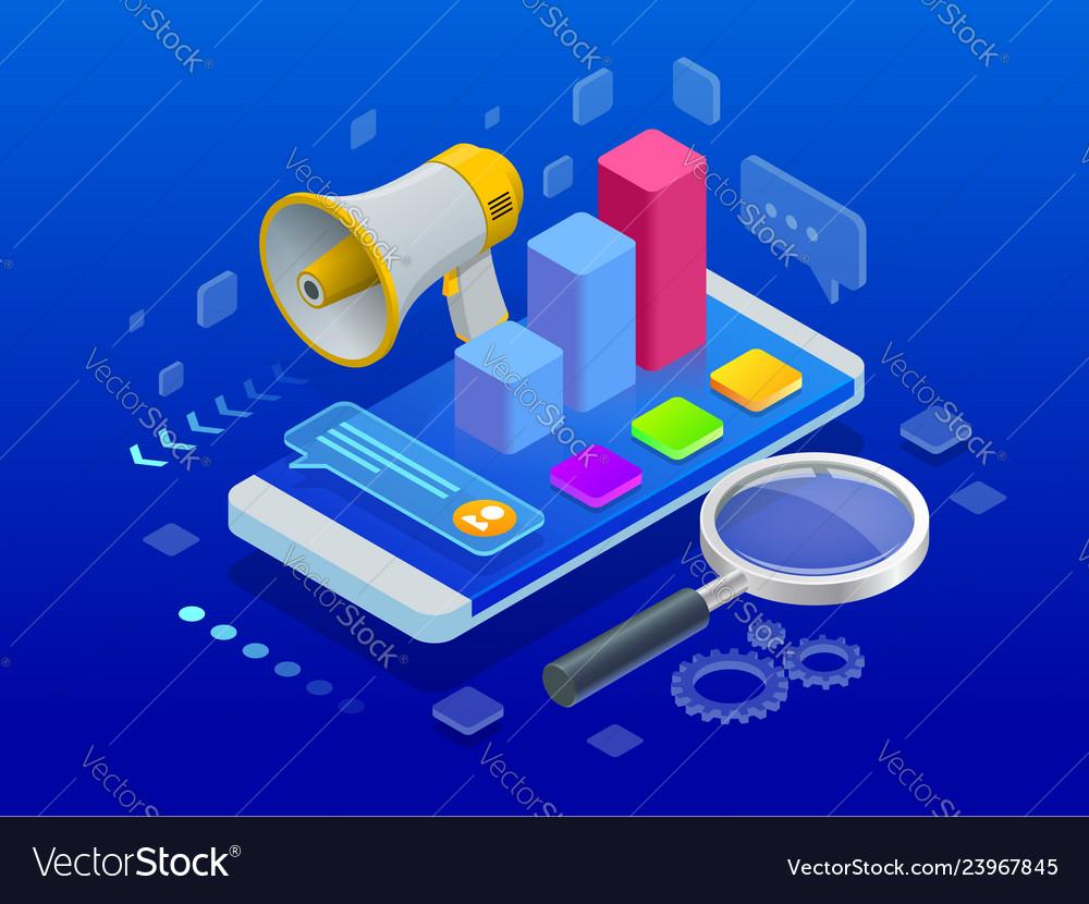 Isometric digital marketing marketing strategy