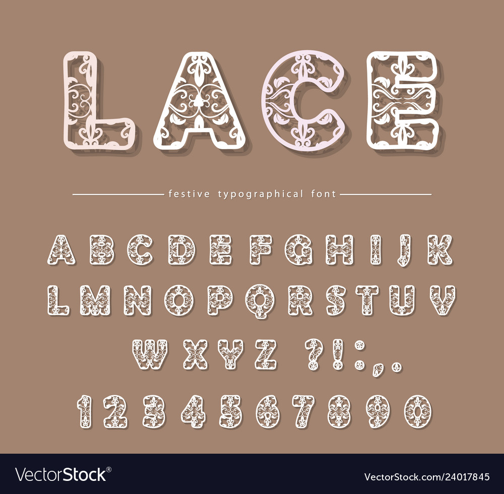 Paper cut out filigree decorative font laser