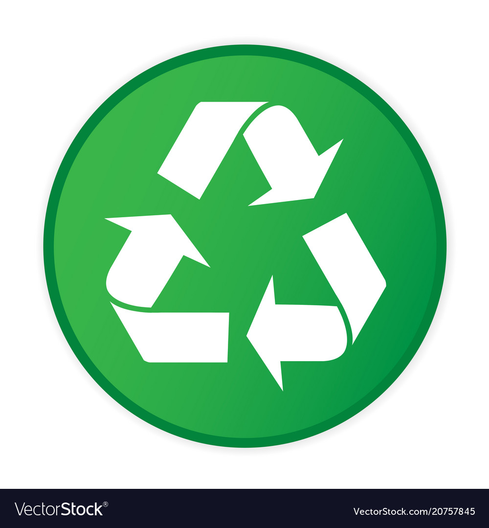 Recycle icon circle frame green background