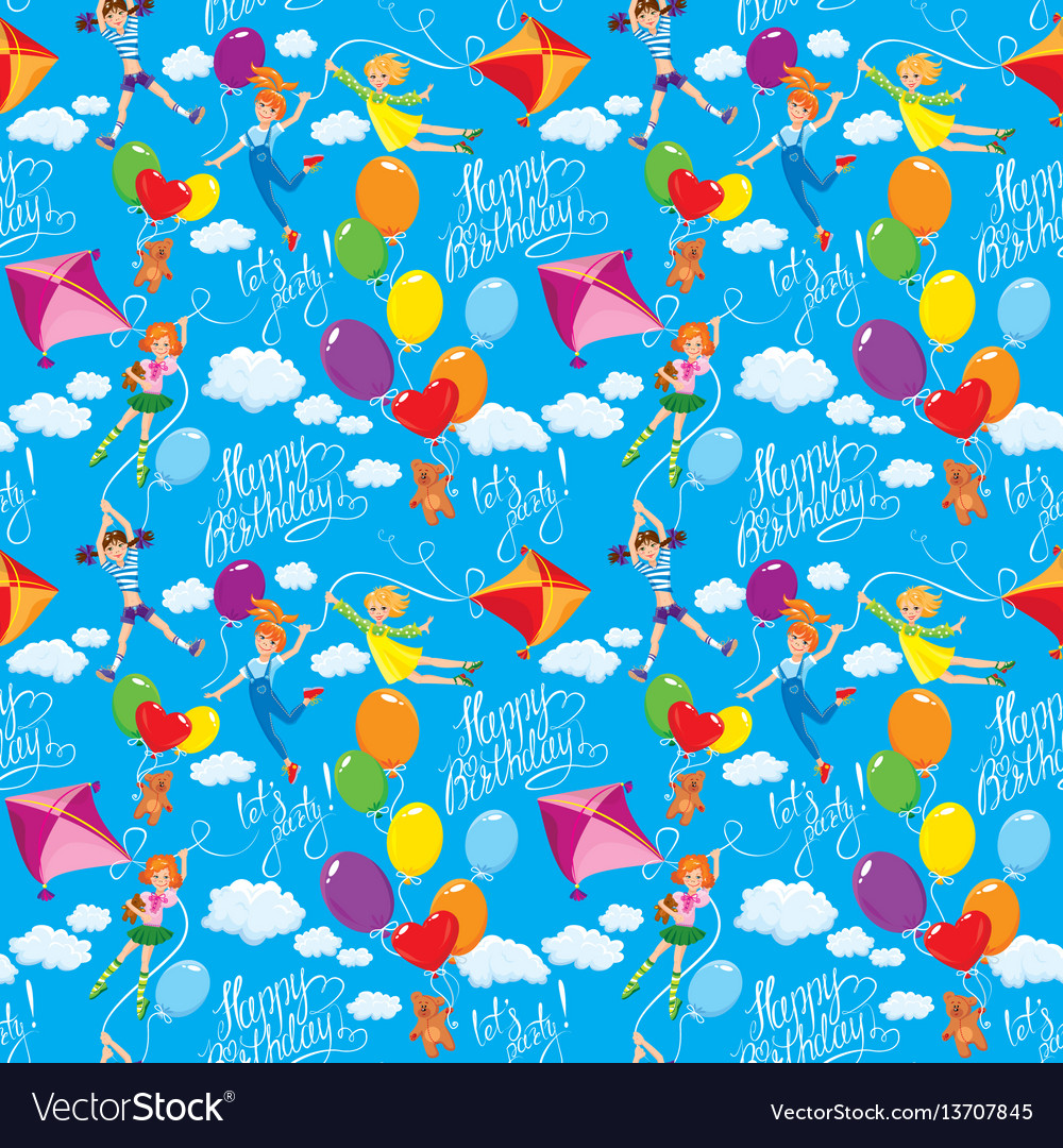 Seamless pattern with clouds colorful balloons