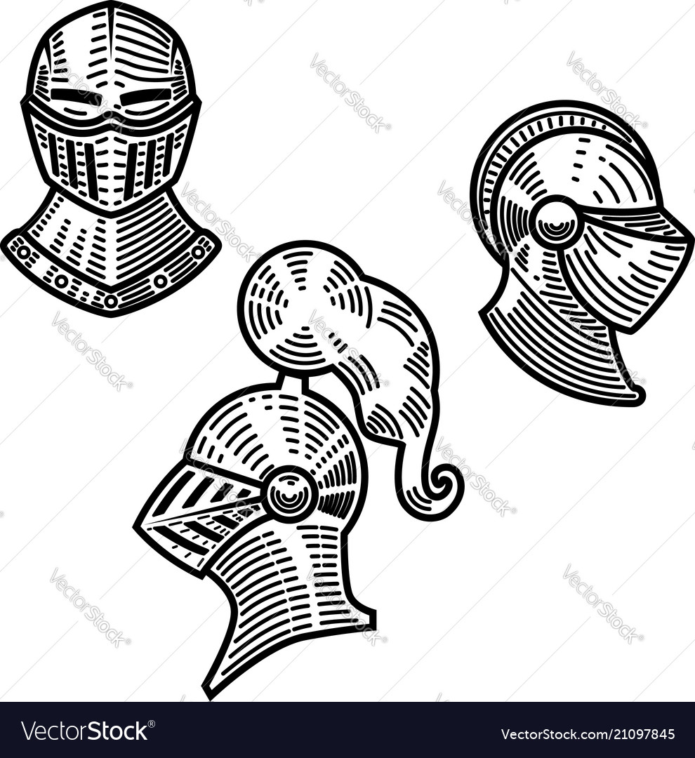 Set of knight helmets in engraving style design