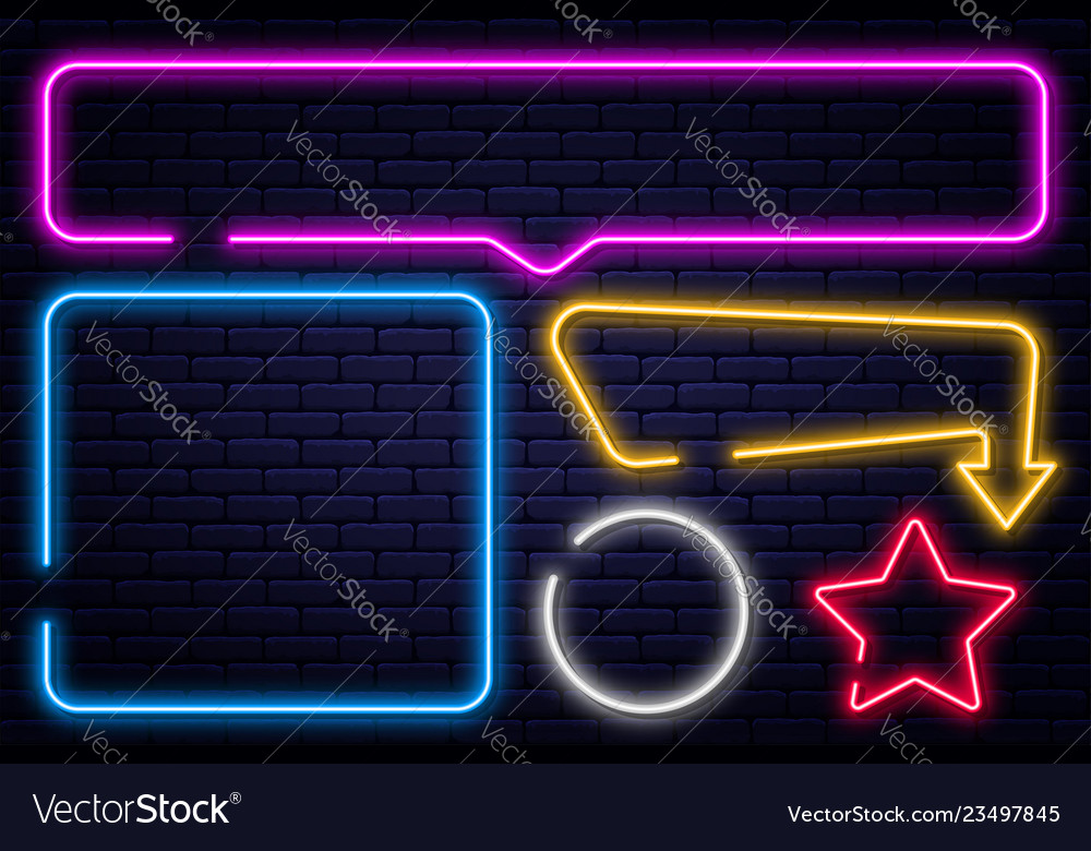 Set of neon signs arrow rectangle square circle