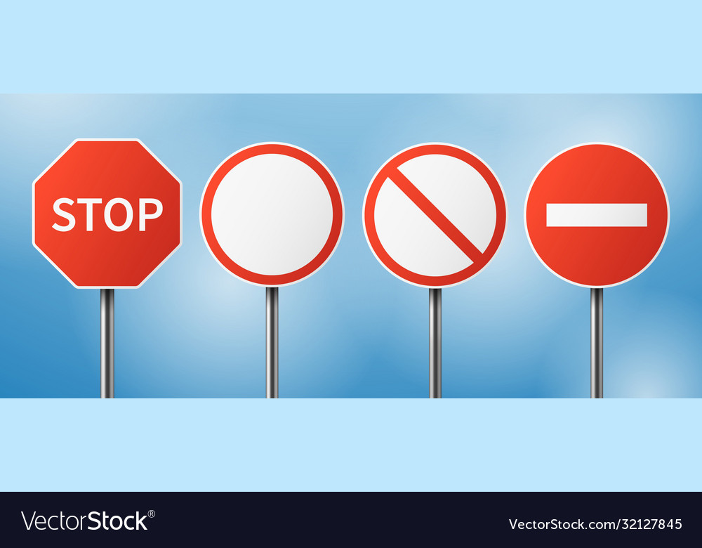 Stop road sign blank street traffic danger