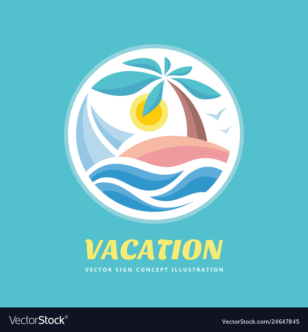 Summer travel vacation logo concept