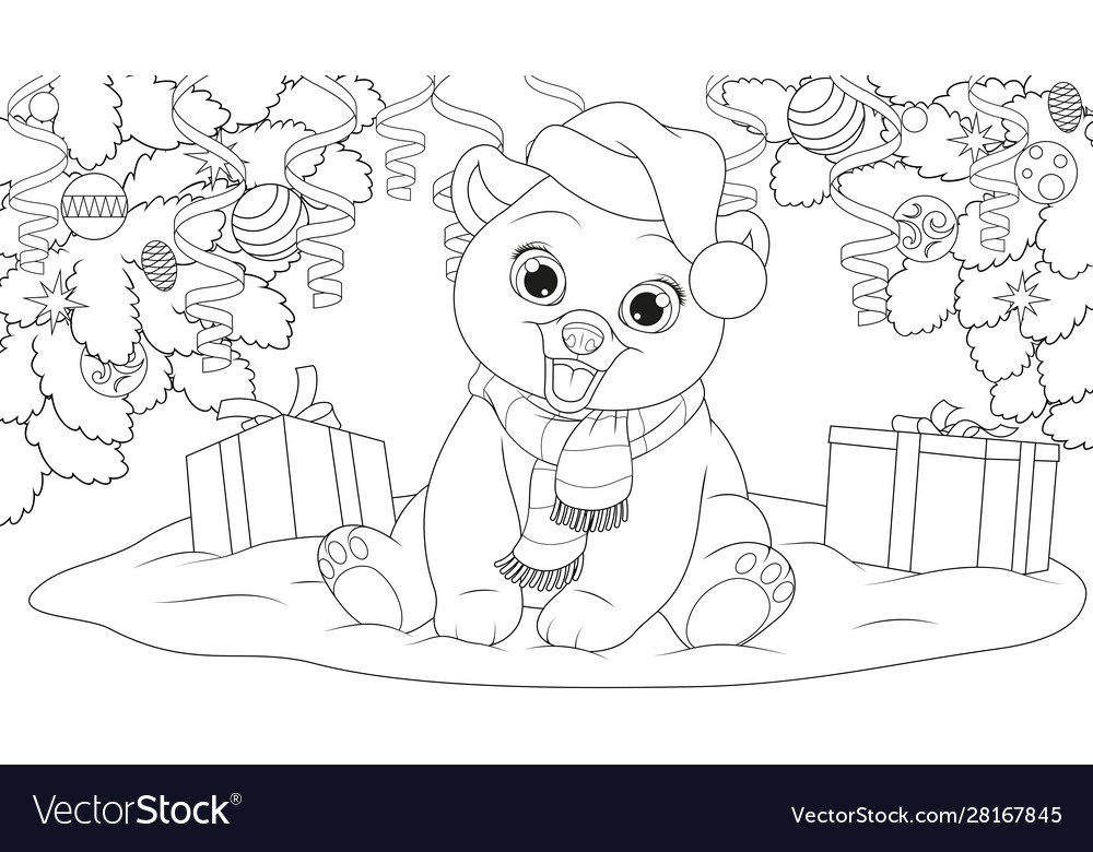 Teddy bear under christmas tree in a hat