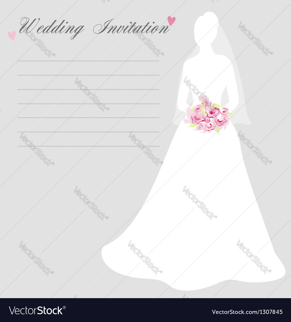 Wedding invitation with bride silhouette