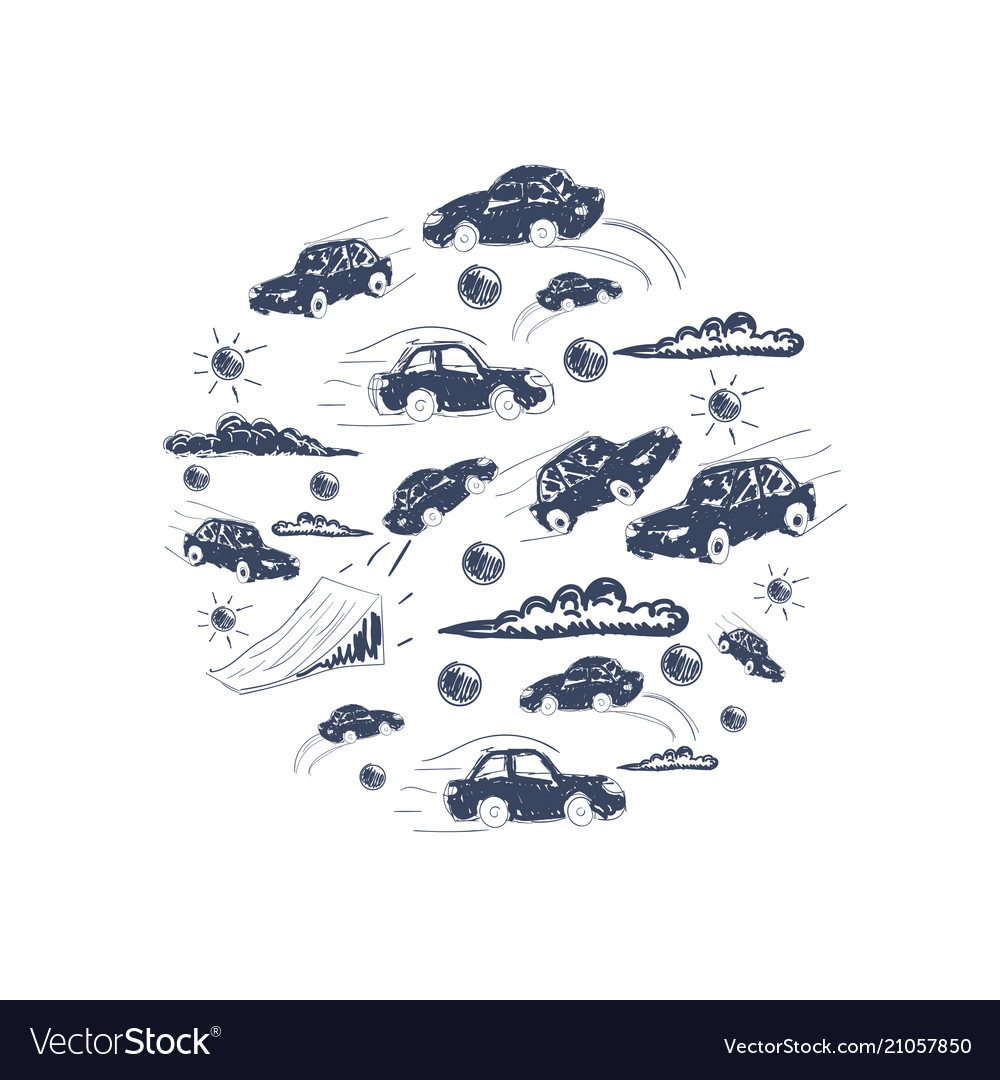 Cars in a circle icons set