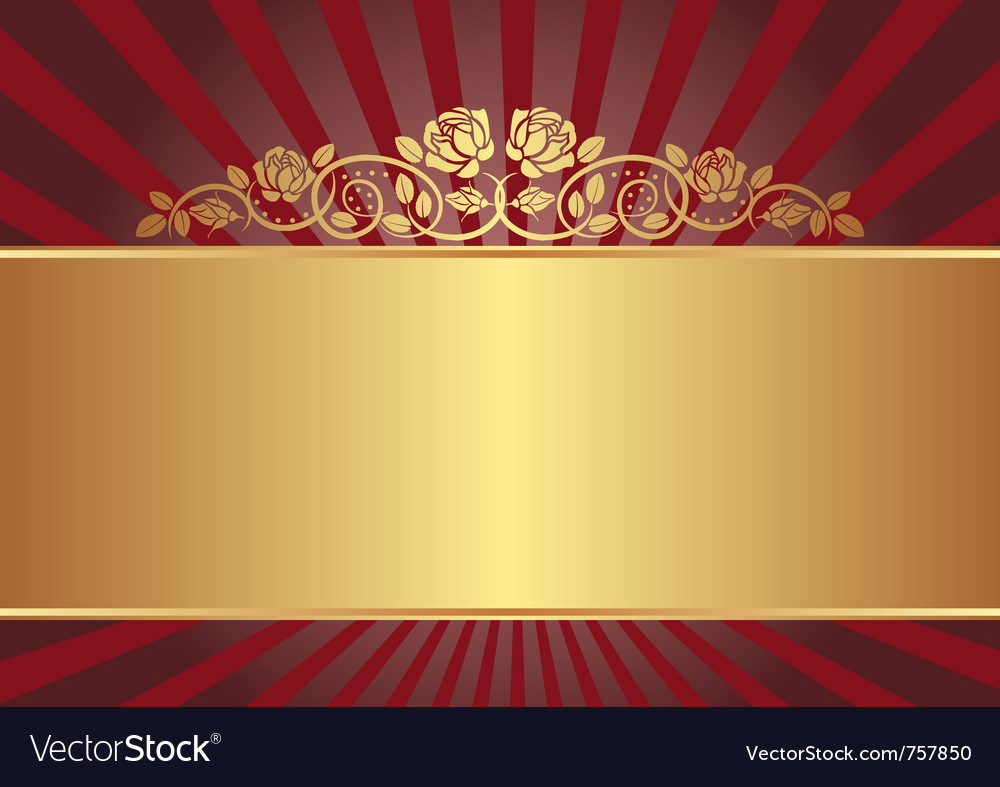 Gold background with roses vector image