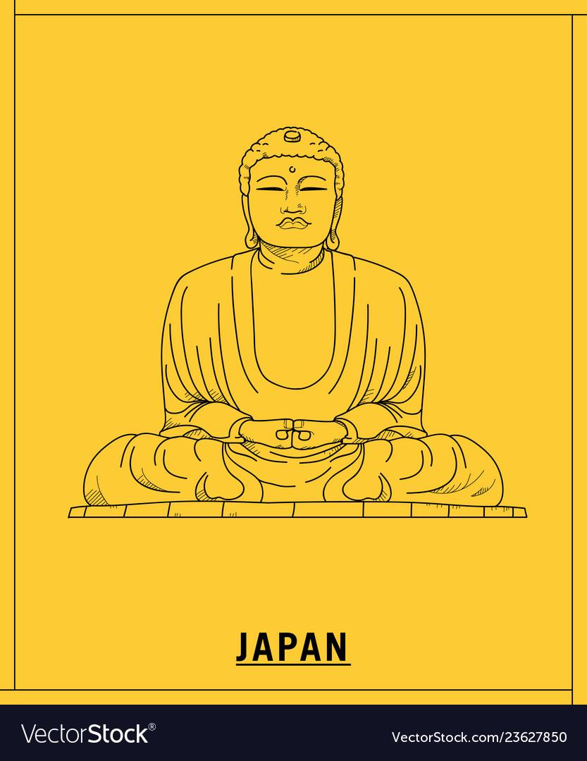 Great buddha kamakurahand drawn sketch