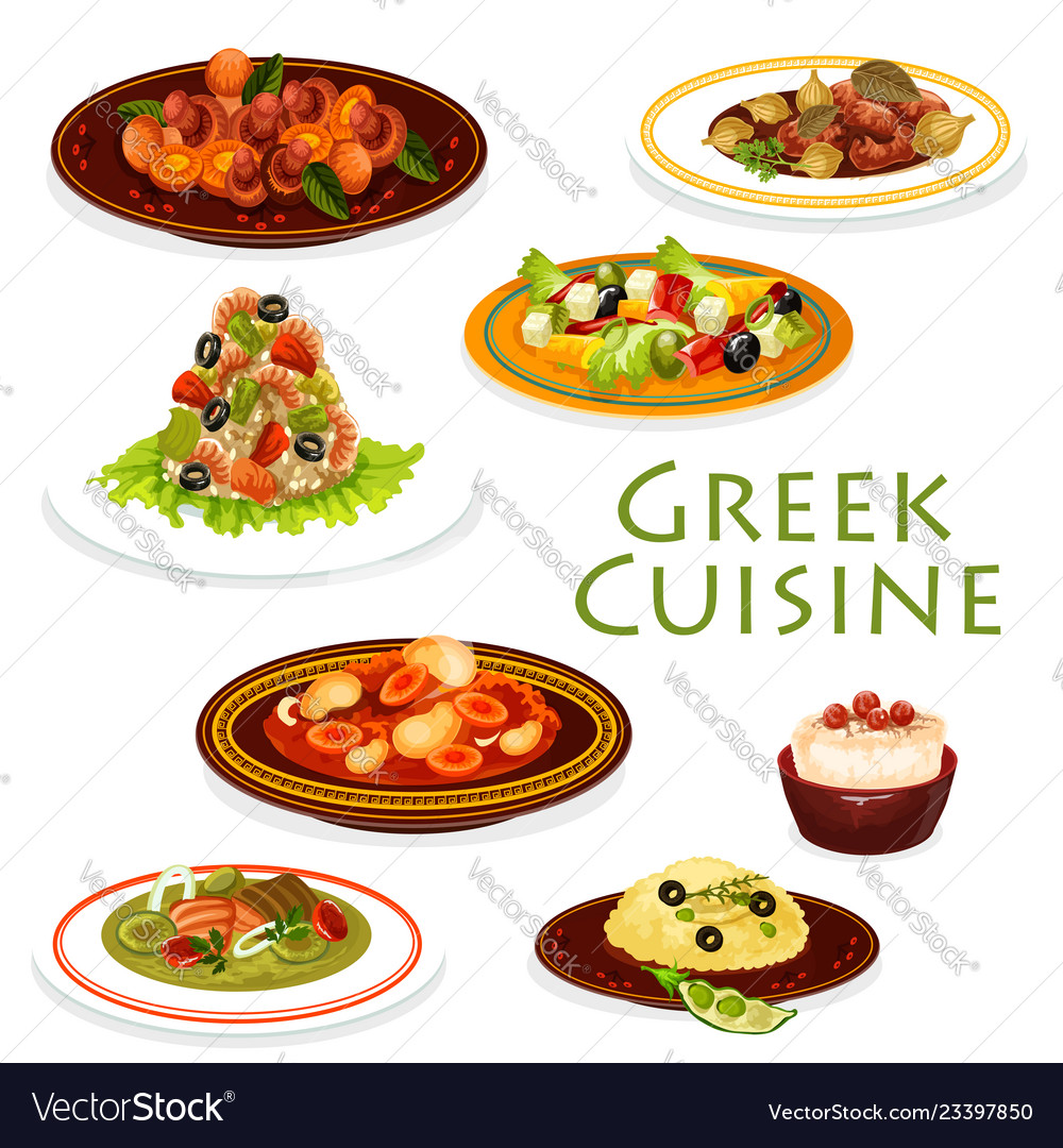 Greek dishes with meat vegetables and seafood