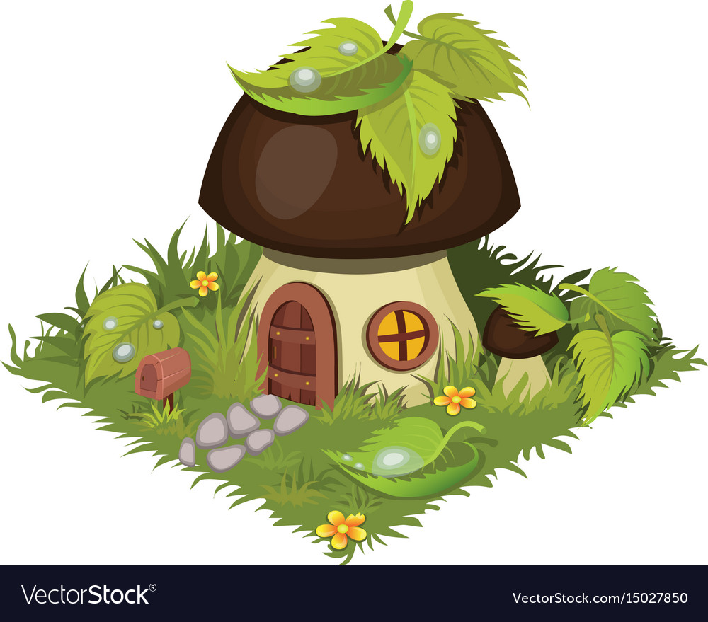 Isometric cartoon fantasy mushroom village house