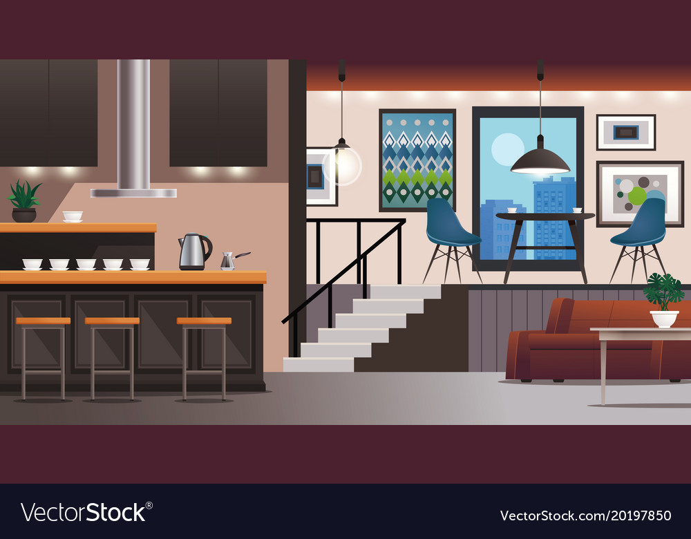 Kitchen Living Room Interior Design Royalty Free Vector