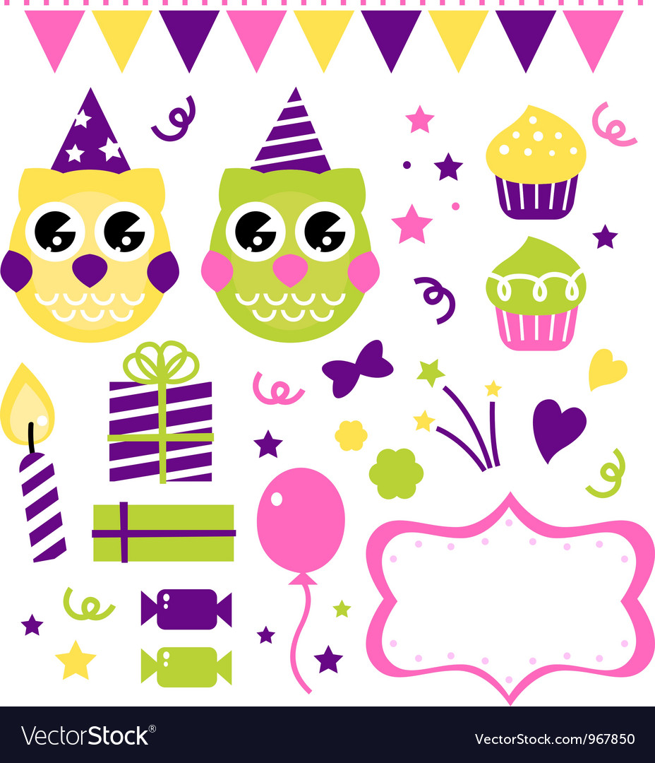 Owl birthday party design elements set Royalty Free Vector