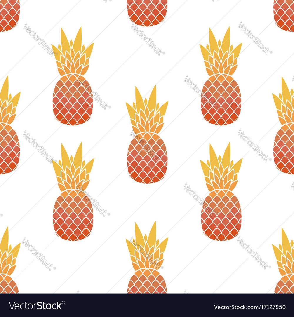 Seamless pattern of pineapples with leaf tropical