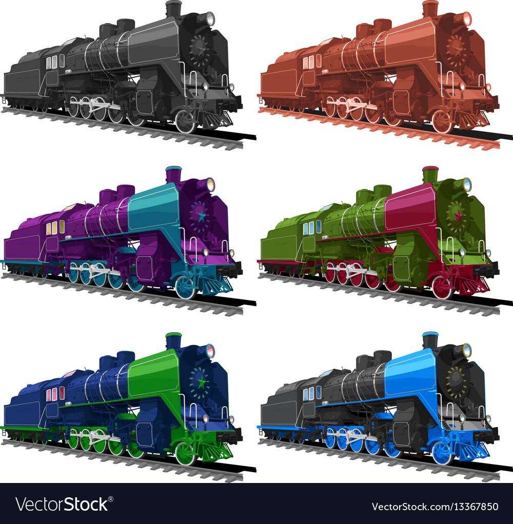 Set old steam locomotive