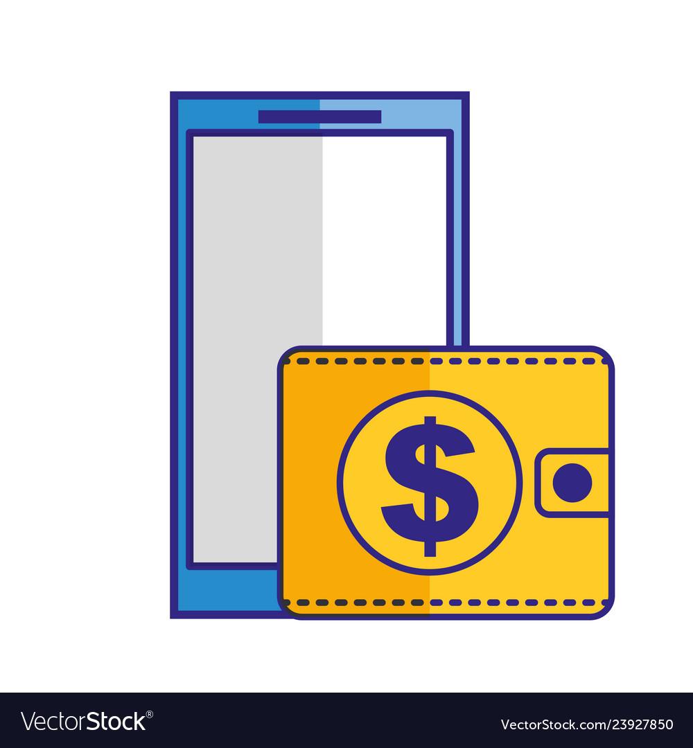 Smartphone wallet money dollar online