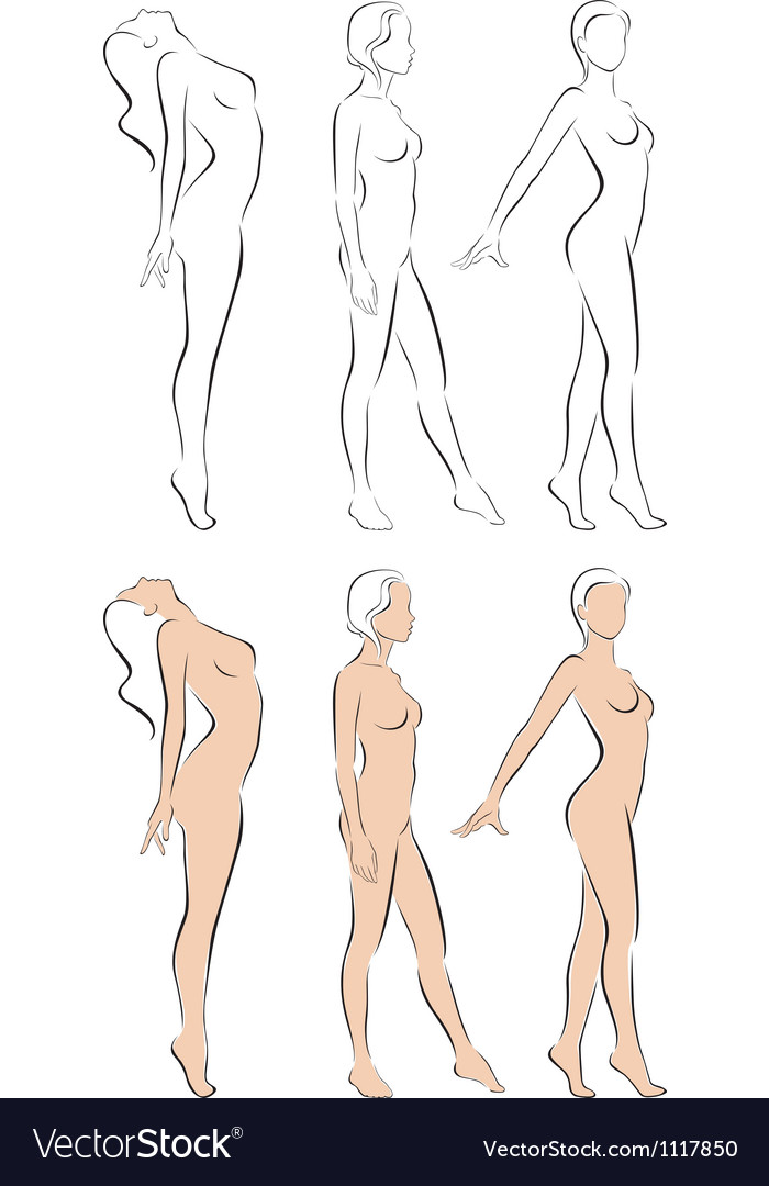 Stylized figures standing naked women vector image